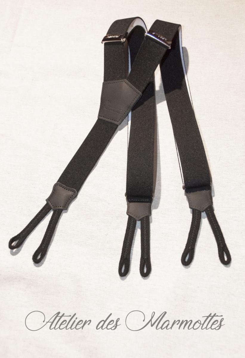 Bretelles noir, costume savoyard homme