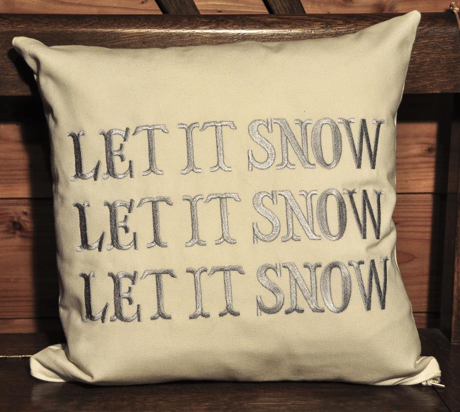Housse de coussin Let it snow, fabrication artisanale