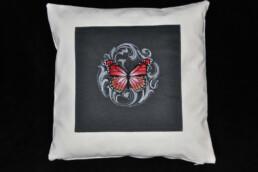 Housse de coussin Papillon baroque, fabrication artisanale
