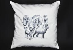 housse de coussin mouflons, fabrication artisanale