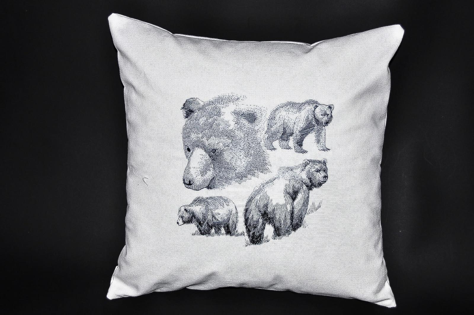 housse de coussin scène ours, fabrication artisanale