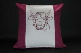 Housse de coussin vache claudine rouge, fabrication artisanale