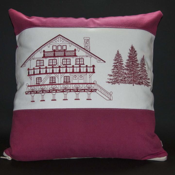 Housse de coussin Chalet rouge, fabrication artisanale