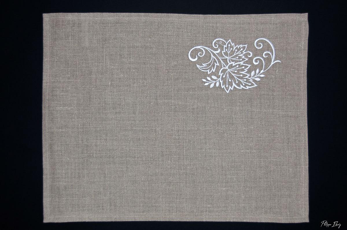 set de table vigne, art de la table, linge de table, décoration intérieur