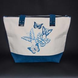 sac à main brodé sur lin bio
