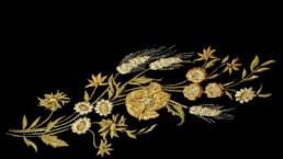 Bannière, broderie fleurs