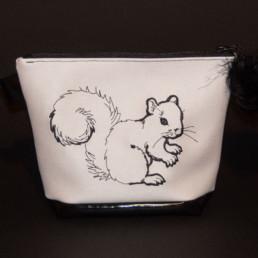 Pochette écureuil, trousse maquillage, trousse de toilette