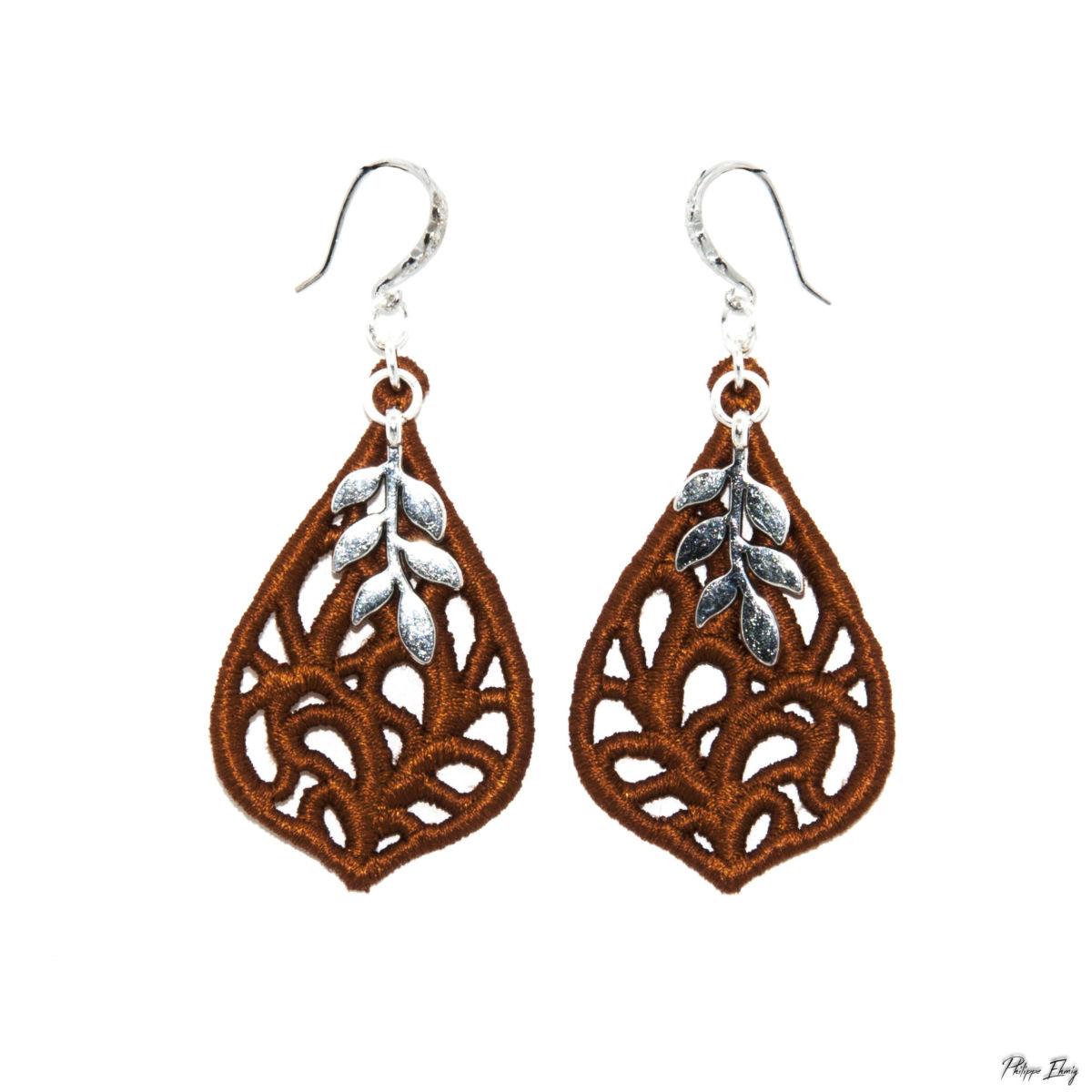 boucles d'oreilles goutte végétale-vieil or, bijoux, bijoux léger