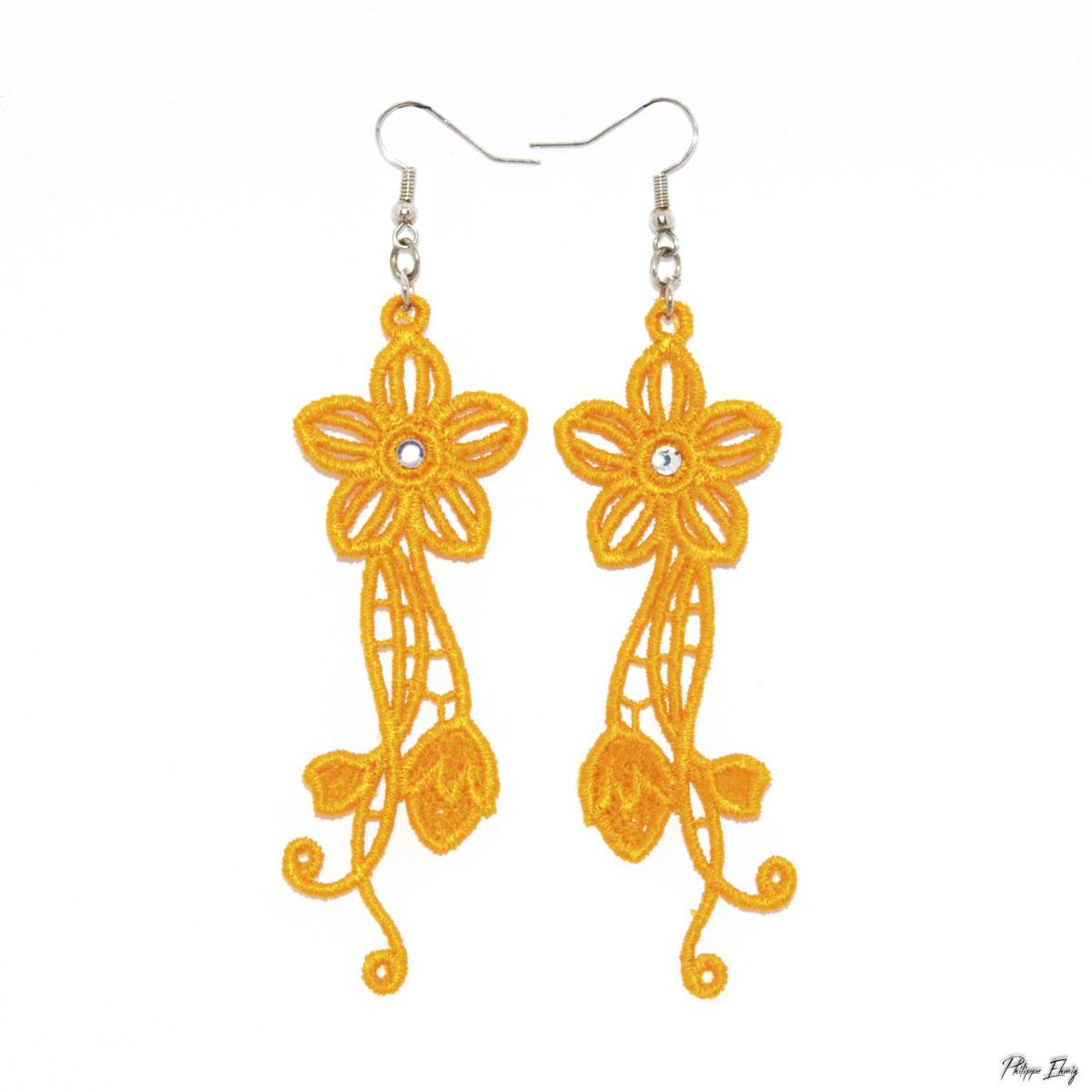 """Boucles d'oreilles """"Fleur jaune"""", bijoux fantaisie"""