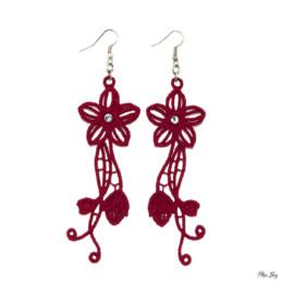 boucles d'oreilles fleur rouge, bijoux fantaisie