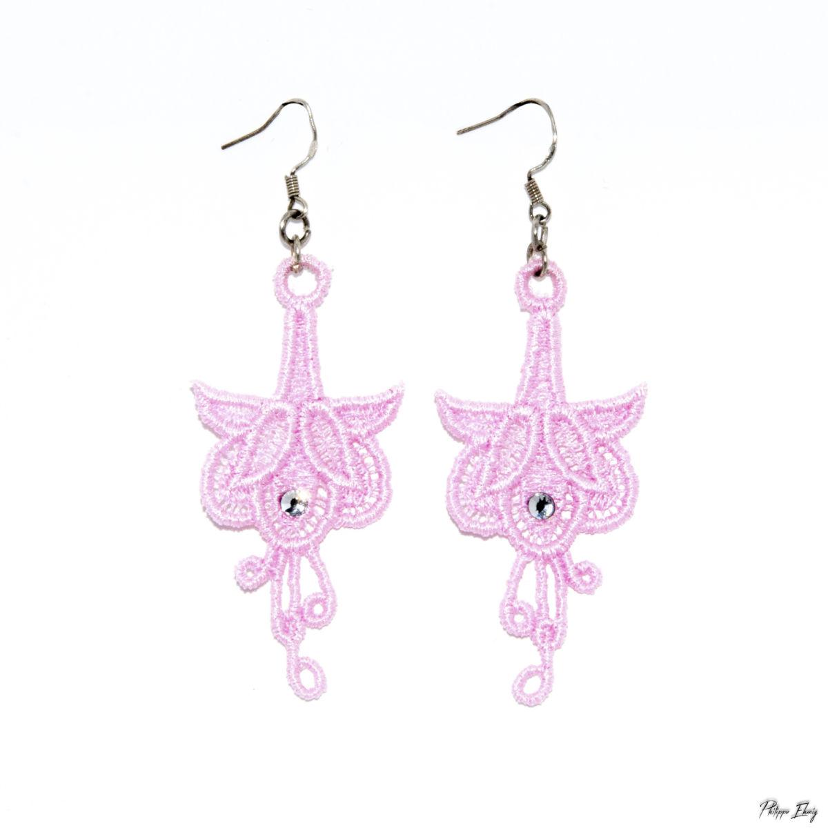 """Boucles d'oreilles """"Fleur de fuchsia"""", bijoux fantaisie"""