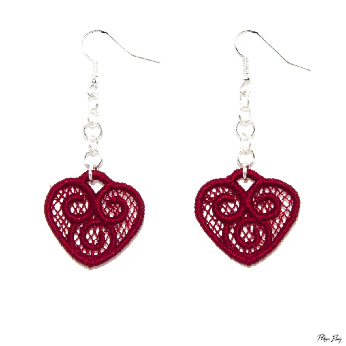 """Boucles d'oreilles """"Cœur Celtique rouge"""", bijoux fantaisie"""