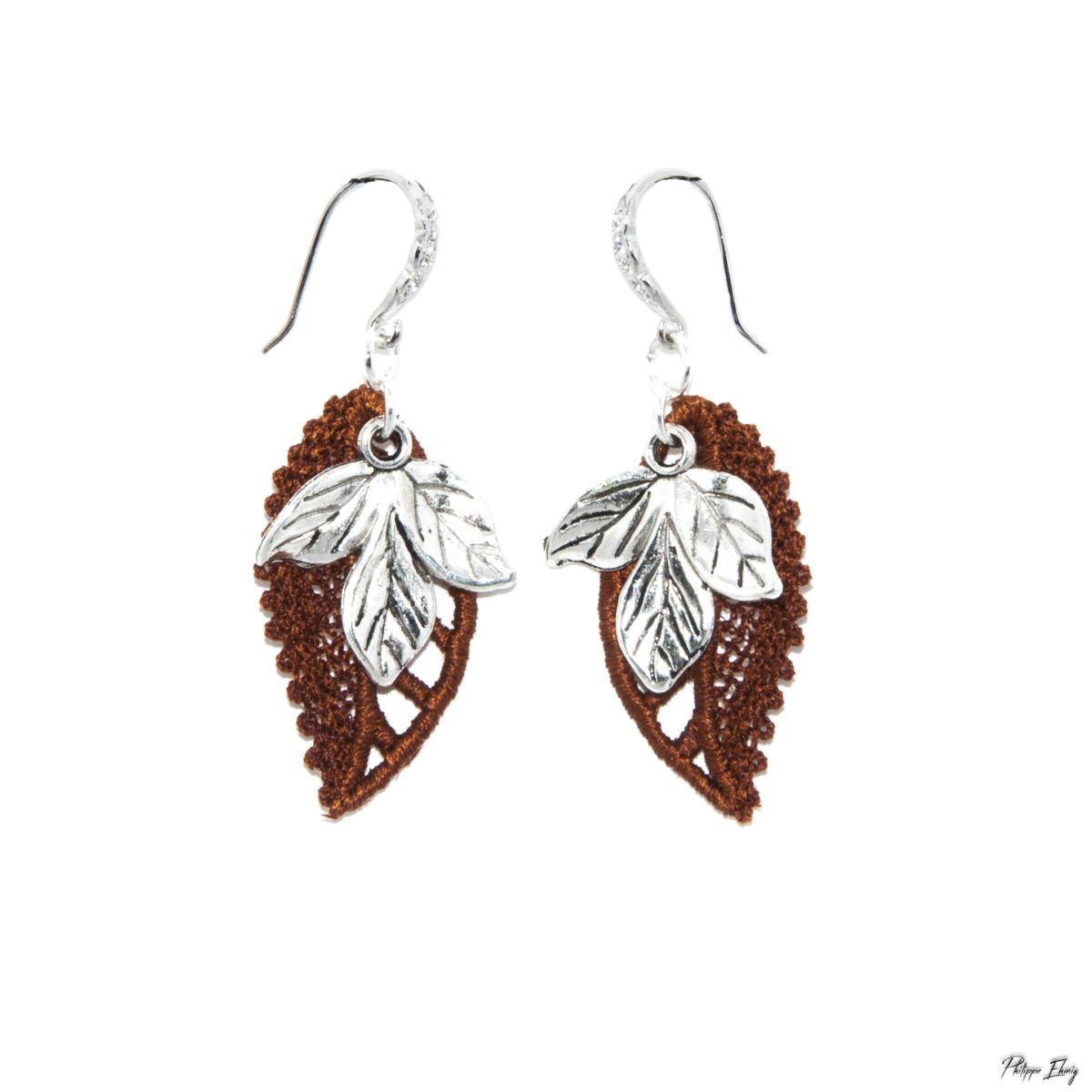 """Boucles d'oreilles """"Feuille d'automne"""" , bijoux fantaisie"""