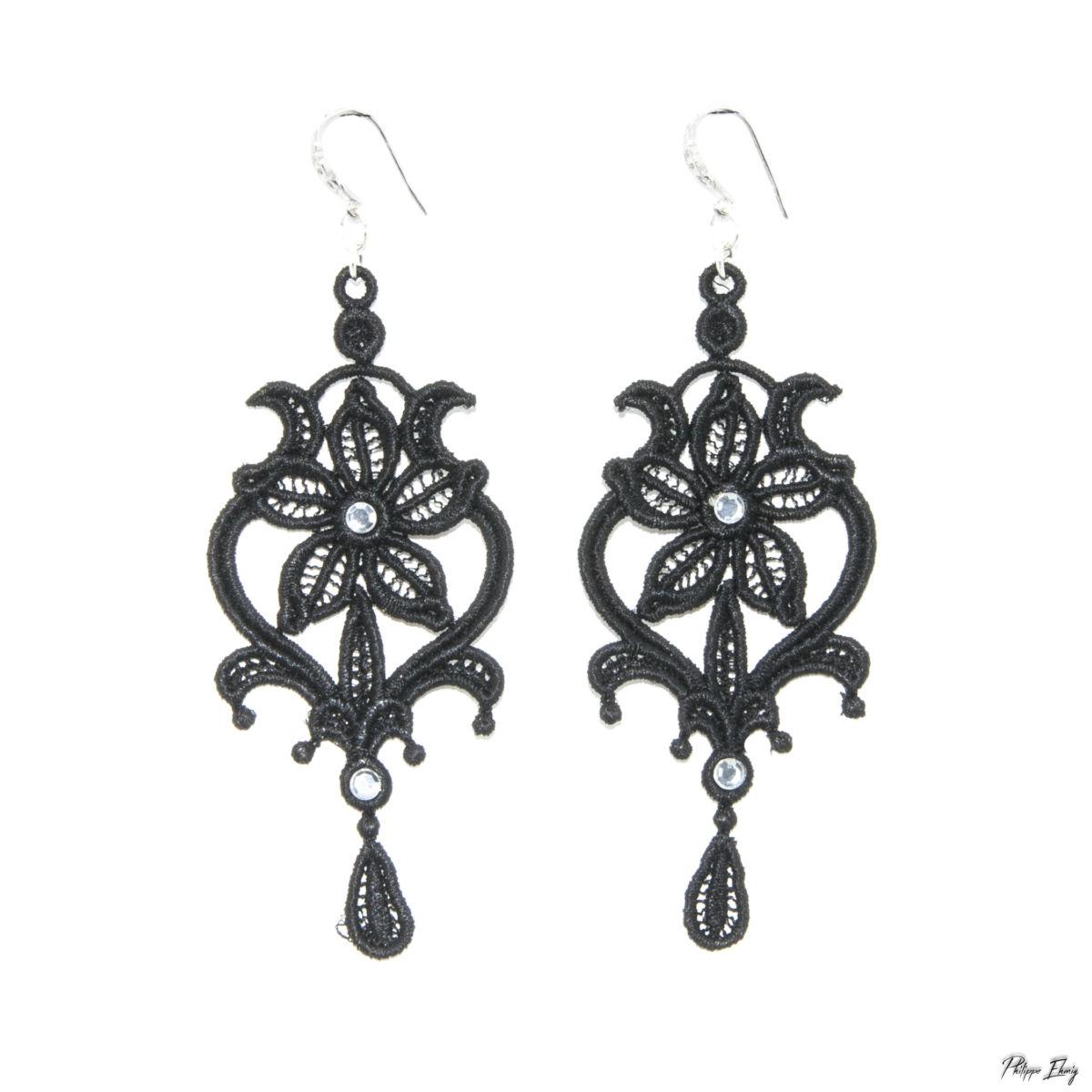 """Boucle d'oreille """"Marquise noire"""", bijoux fantaisie"""