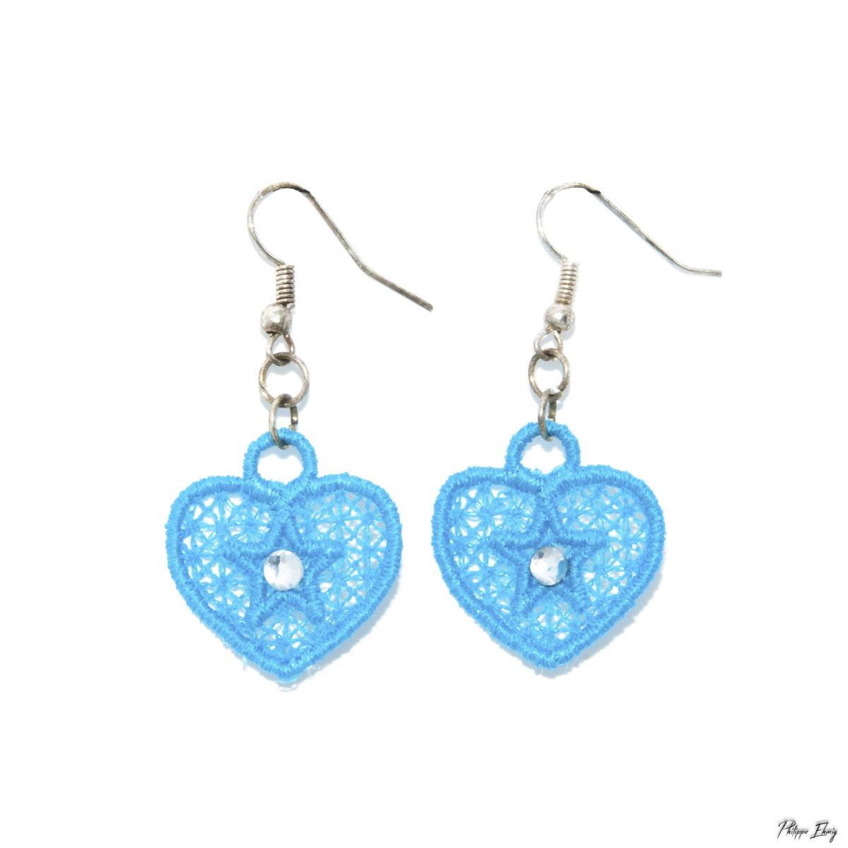 """Boucles d'oreilles """"Petit Cœur turquoise"""", bijoux fantaisie"""