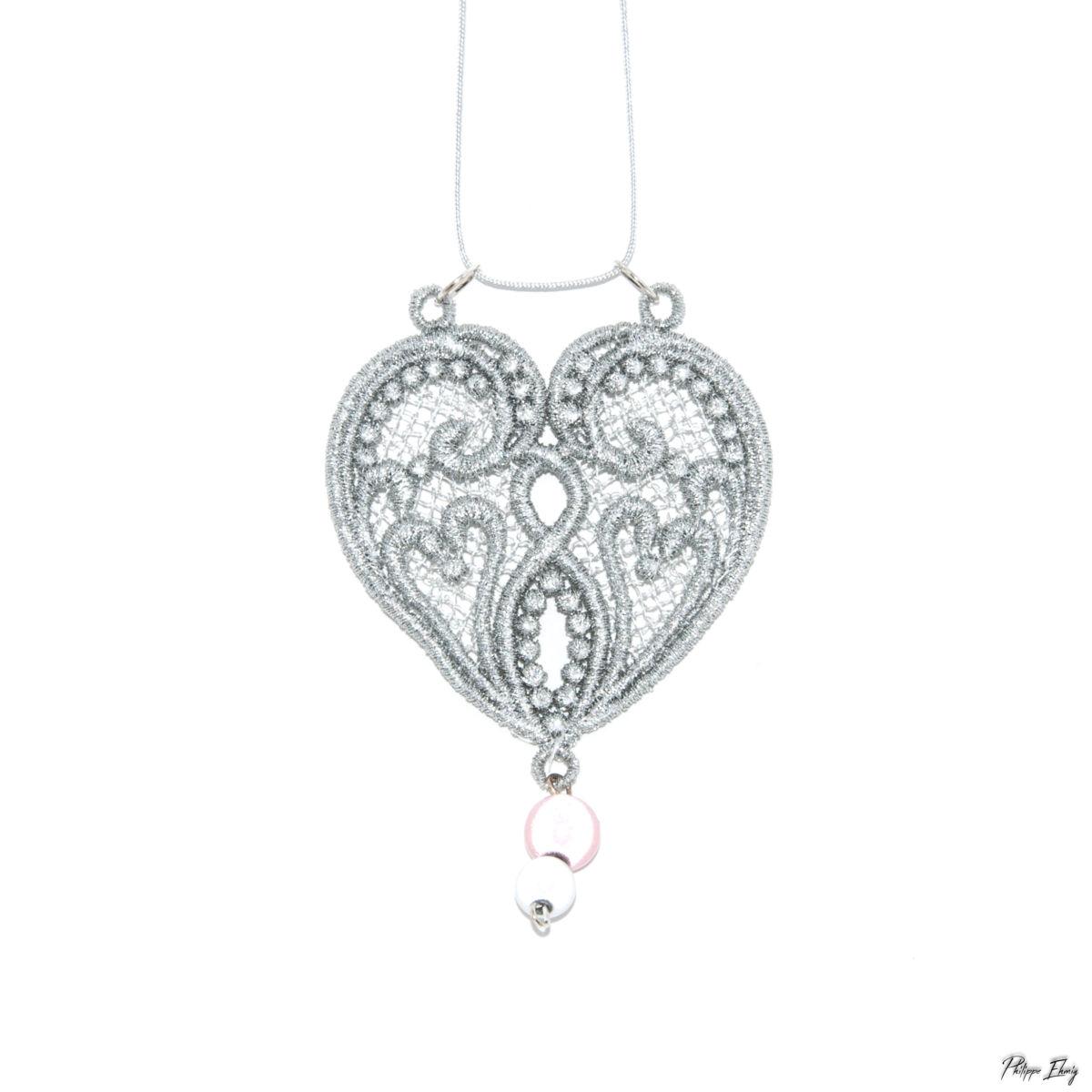 Pendentif Cœur perlé, bijoux fantaisie